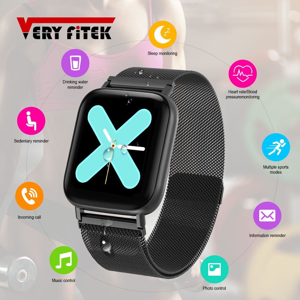 VERYFiTEK Q10 Smart Watch Heart Rate Blood Pressure Monitor Waterproof Fitness Tracker Women Men <font><b>Smartwatch</b></font> K P68 <font><b>P70</b></font> B57 Q9 IWO image