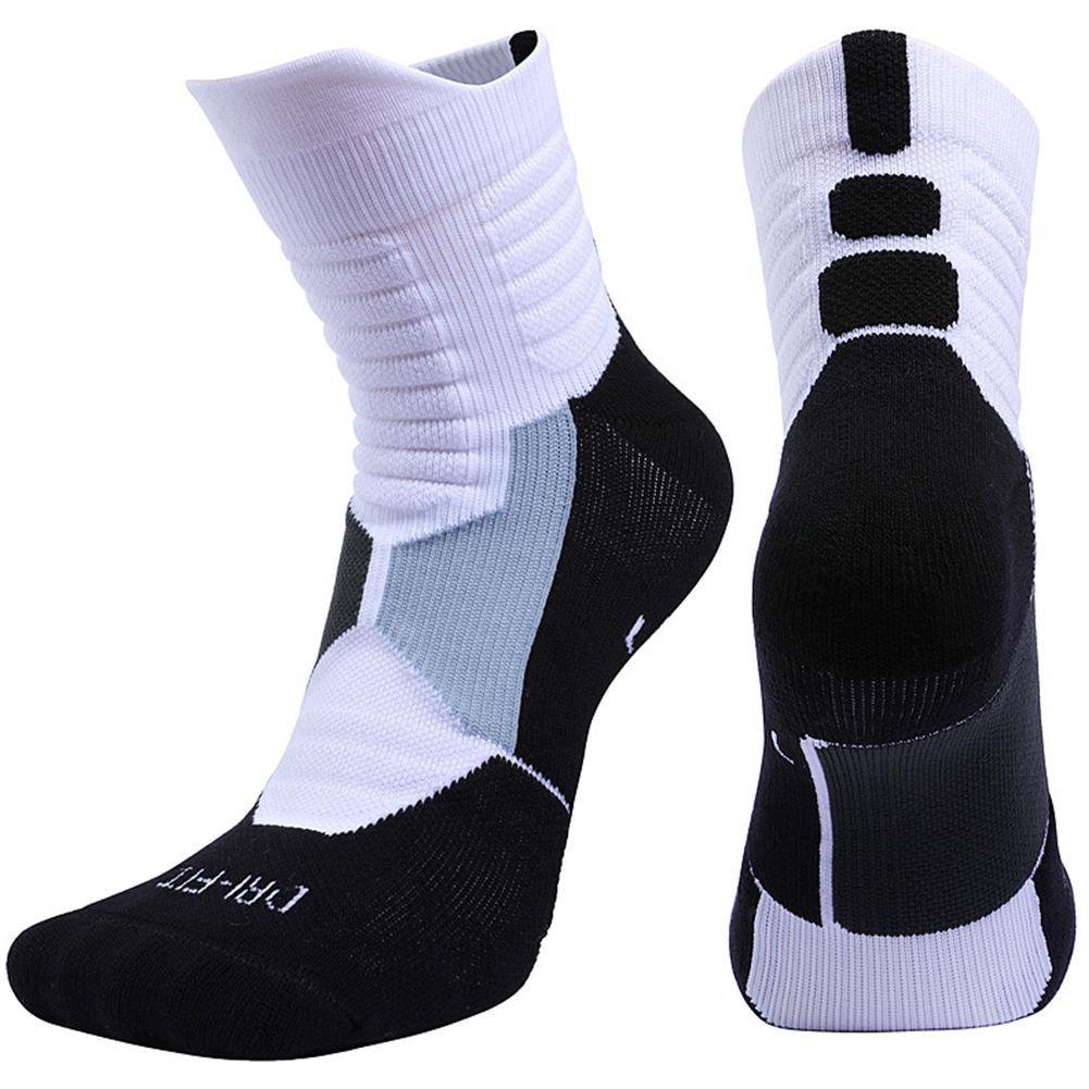 HiMISS Unisex Professional Deodorant Mid-hose Basketball Sports Stockings Sports Socks Towel Stockings