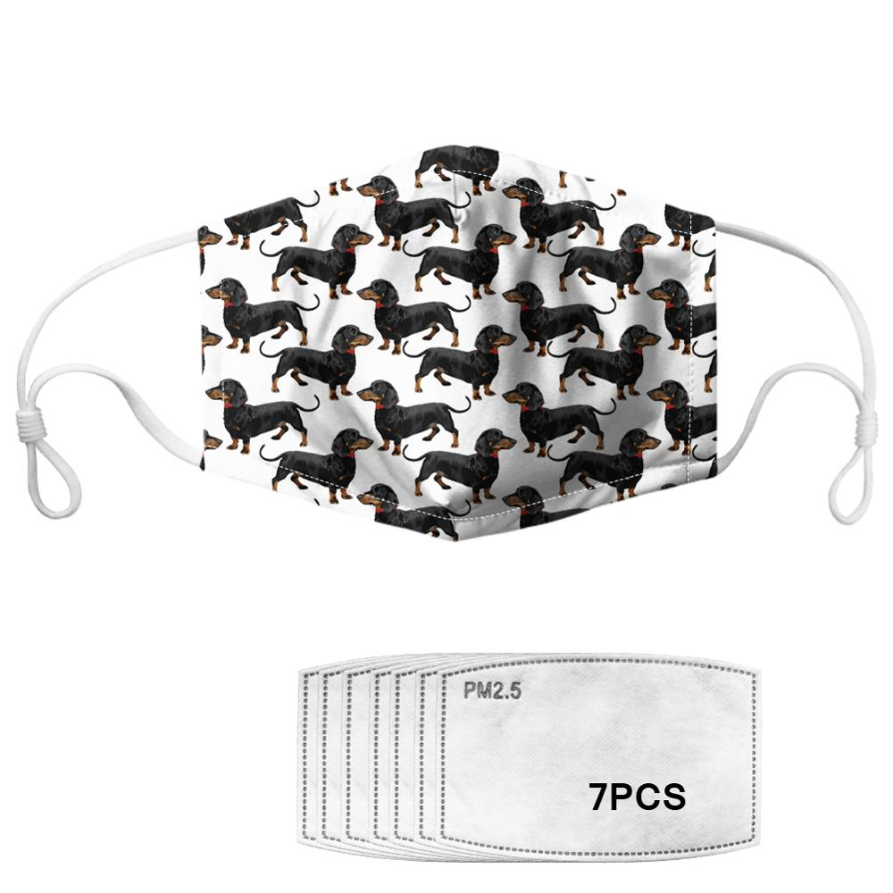 Lovely Floral Dachshund Printed Women Mouth Mask Reusable Face Masks With 7PCS Filter Fashion Anti-Dust Mask