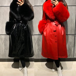 Image 4 - ladies leaher coat long women genuine leather windbreak