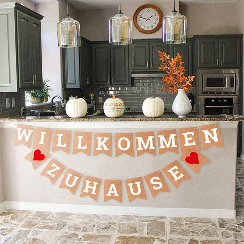 WILLKOMMEN ZU HAUSE Fahnen Bunting Girlande Gold Glitter Fahnen Banner Für Hochzeit Weihnachten Geburtstag Housewarming Prom
