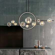 Modern LED Novelty Glass bubble Chandelier Nordic Dining room Lamp Restaurant lighting Kitchen Island Home Decor Hanging lights cheap LOMYE CN(Origin) None 90-260V WLS-7771 Clear Glass ROHS Glass ball LED Chandelier Semiflush Mount Chandeliers iron 3 years