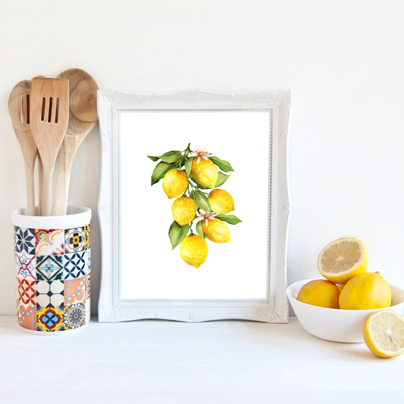 Lemon Canvas Painting Kitchen Decor