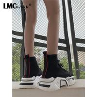 LMCAVASUN Sock Boots Platform Autumn 2019 Female Fashion Ankle Boots Black Hook Loop Lady Hip Hop Autumn Shoes Woman Boots