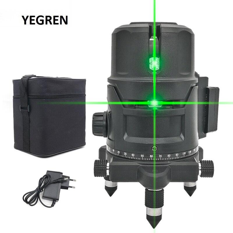 Green Light Laser Level Automatic Leveling Laser Level 2 Lines 5 Lines Horizontal Vertical Measure Meter Outdoor Laser Meter