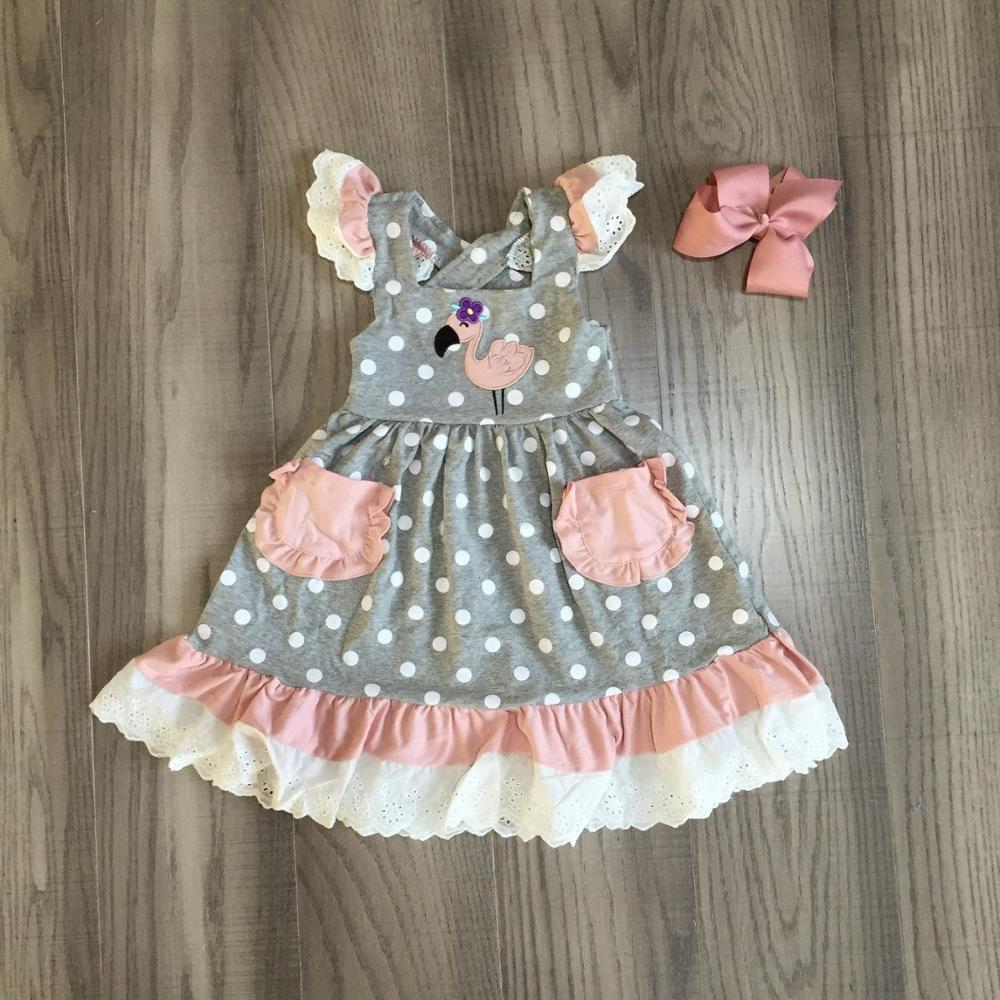 Baby Girls Summer Girl Flamingo Dress Children Cute Clothing Children Dress With Bow