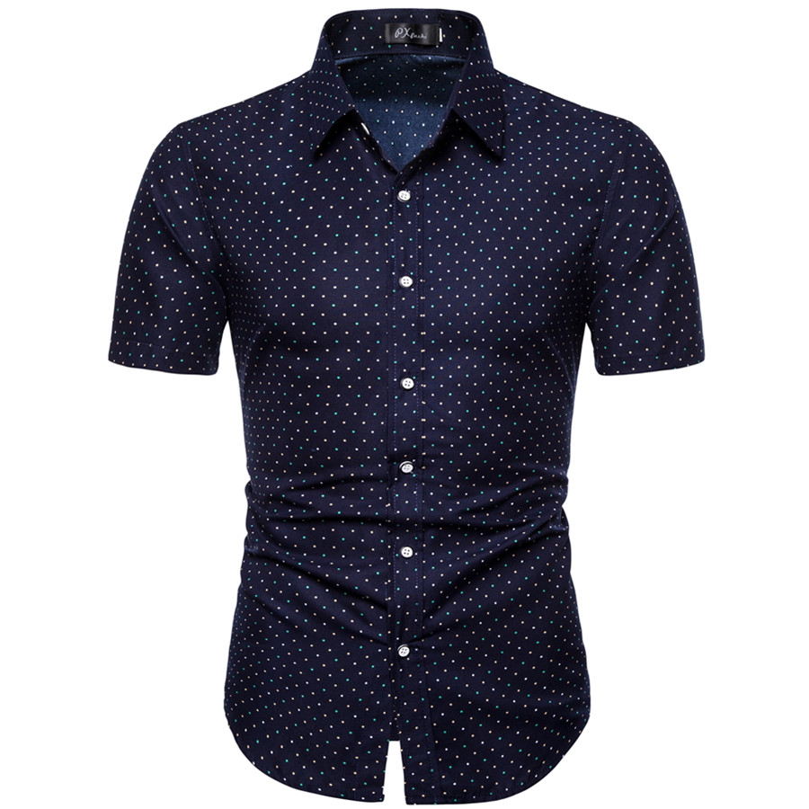 M-5XL Men's New Dot-Print Business Casual Shirt Men's Short Sleeve Shirts The Office Mens Cotton Shirts Regular Fit Large Size