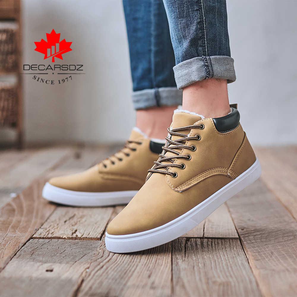 2019 yeni kar botları erkekler sonbahar ve kışlık botlar erkek rahat moda ayakkabılar rahat sıcak Botas orijinal olmayan kayma marka kürk erkek botları