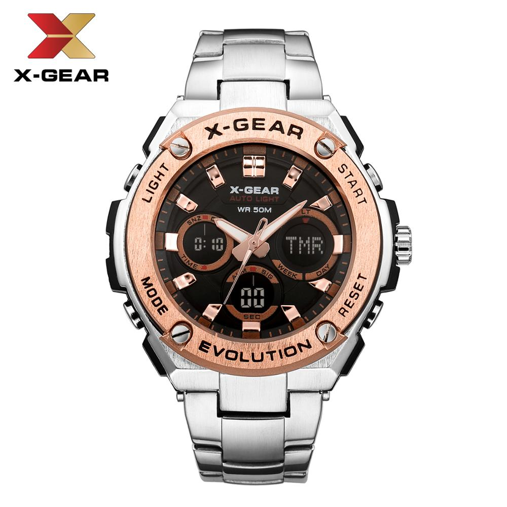 Quartz Watches Luxury Brand X-GEAR Watch Men Mechanical Mens Stainless Steel Watches3788 Waterproof Calendar Quartz Wristwatch
