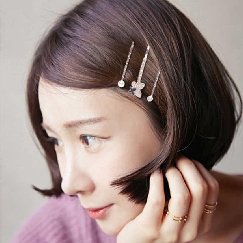 3 יח'\סט חדש נשים בנות אלגנטי קשת פניני לב סגסוגת שיער קליפים מתוק סרט סיכות סיכות אופנה שיער אבזרים