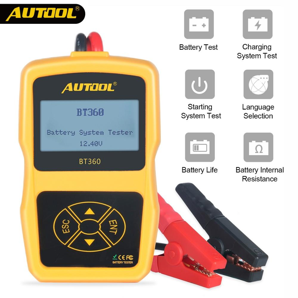 AUTOOL 12V Car Battery Diagnostic Tester BT360 Automotive Battery Tester Analyzer Vehicle CCA2400 Analyzer With Russia Polish