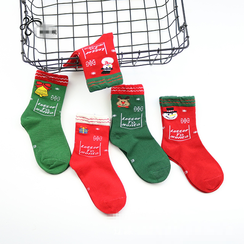 Childrens combed cotton baby socks autumn and winter new cartoon snowman Christmas year childrens