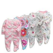 6 adet/grup bebek tulum yenidoğan bebek kız erkek giysileri 100% pamuklu uzun kollu bebek pijama karikatür baskılı bebeğin setleri