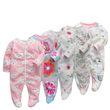 6pieces/lot Baby rompers Newborn Baby Girls Boys Clothes 100% Cotton Long Sleeves Baby Pajamas Cartoon Printed Babys Sets
