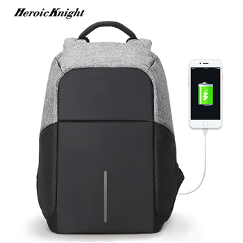 Heroic Knight Large Capacity Business Backpacks USB charging Men 15inch Laptop For Teenager Male Mochila backbag