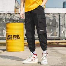 Casual Trousers Cargo-Pants Streetwear Mens Large-Size Fashion Elastic-Waist Male