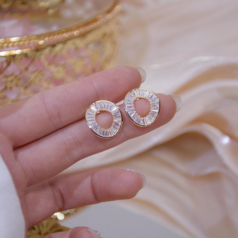 14k Real Gold Fashion Personality Irregular Circle Earring for Women Brilliant AAA Zirconia Stud Earring Brincos Wedding Pendant
