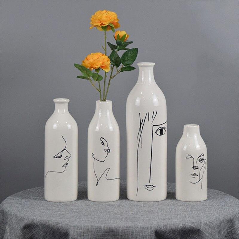 Nordic Ins Home Decor Ceramics Vase for Flowers Human Face Design Decoration Home Vase Luxury Pot for Dried Flower White Vase
