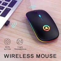 Ratón inalámbrico recargable RGB para ordenador, Mouse silencioso retroiluminado con LED, accesorios para Gaming y oficina