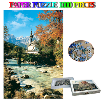 Ramsau Church 1000 Pieces Decorative Landscape Puzzle Paper Plane Jigsaw Puzzle 1000 Pieces Adults Difficult Puzzles Toys Gifts