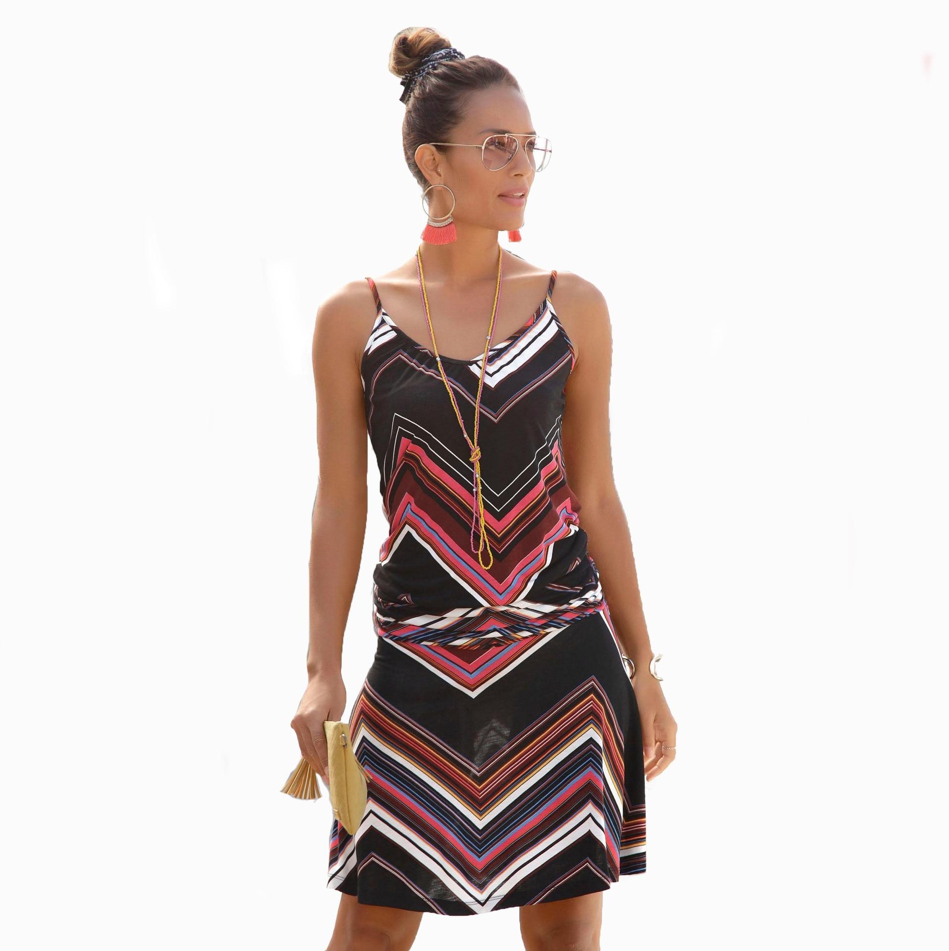 HOUZHOU Women Summer Loose Printed Straps Dress Casual Sleeveless Bandage Sexy Female Short Dress Plus Size Dresses Beach Style 7