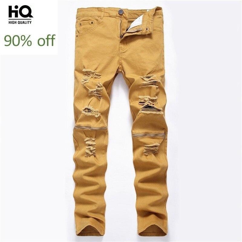 Men Jeans Straight Slim Hole Ripped Pencil Pants 2020 Korean Fashion Zipper High Street Biker Casual Stretchy Vaqueros Plus Size