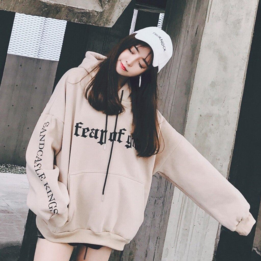 Women Gothic Hoodies Sweatshirts Japanese Korean Style Long Sleeve Letter Printed Loose Hoodie Sweatshirt Pullover Tops Blouse