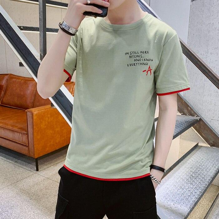 Homens gola redonda fina com T-shirt de manga curta de verão roupas masculinas edição han cultivar a moralidade dos homens meia camisa de manga comprida