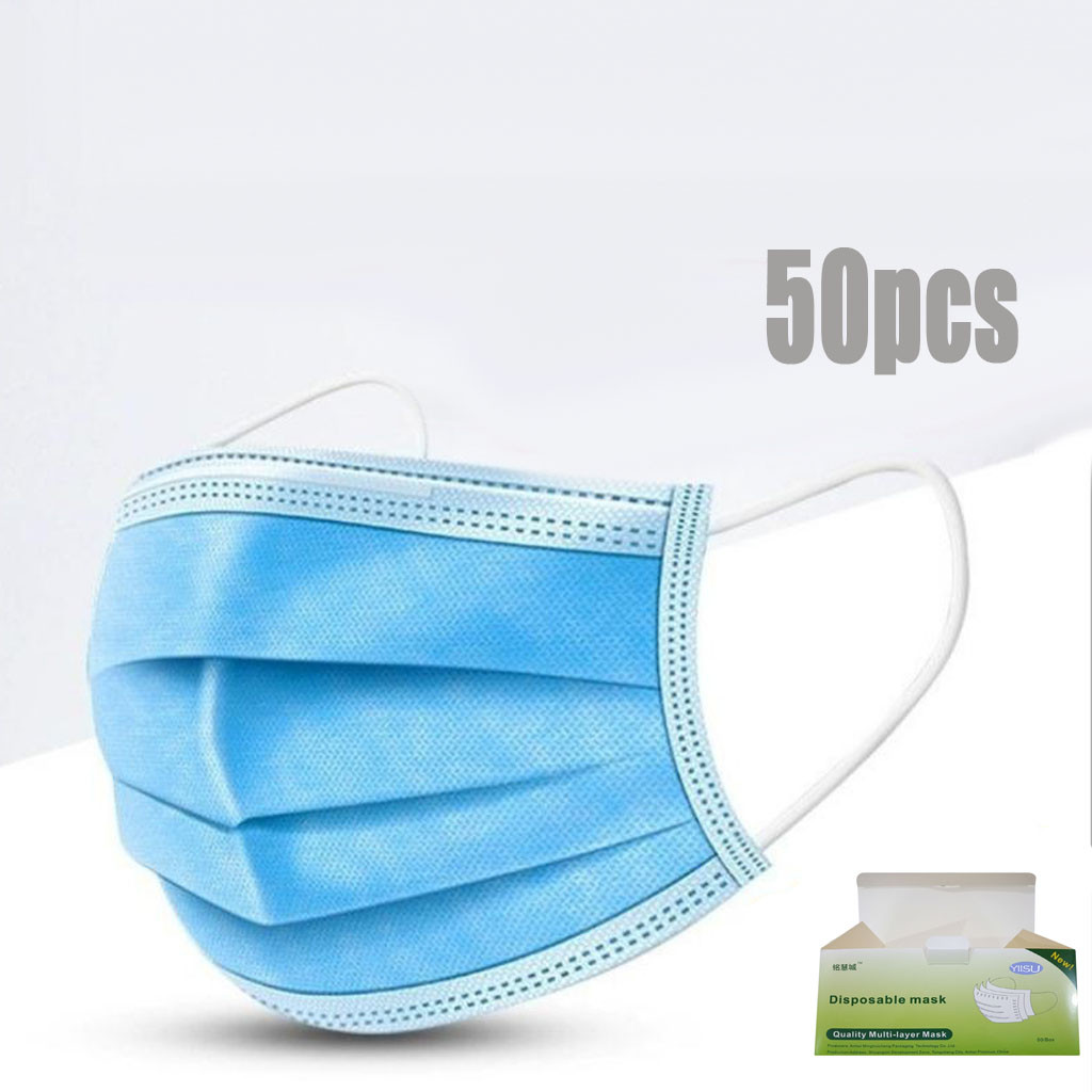 50 Pc Disposable Face Mask 3 Layers Protective Non-woven Mouth Filter Face Masks Soft Breathable Mouth Face Masks Respirator