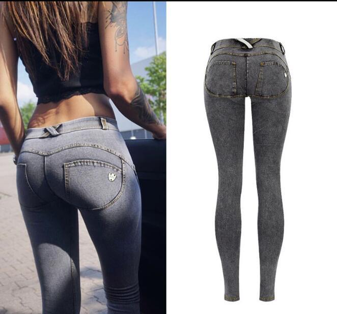 Low Waist Jeans Woman Peach Push Up Hip Skinny Denim Pant Boyfriend Jean For Women Elastic Leggings Grey Jeans Plus Size