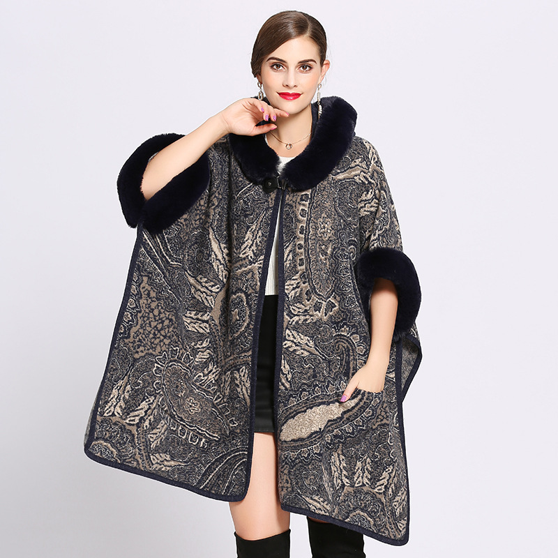 Ponchos And Capes Women 2019 Christmas Fashion Half Sleeve Faux Fox Fur Collar Winter Wool Cloak Cape Coat Poncho Long Overcoat