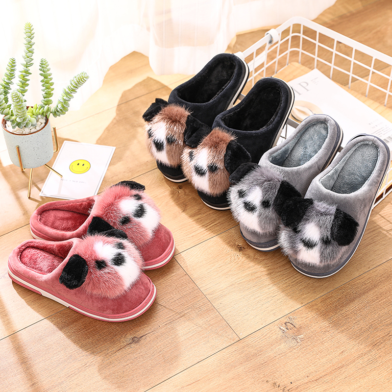 STONE VILLAGE Women Slippers Lovely Dog Animal Prints Mix Colors Flat Indoor Shoes Women Plush Warm Home Slippers Size 36-41 5