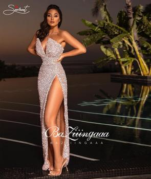 Sexy Split Sequin Dress Evening Prom Pink Sleeve Free Shipping Straight Mermaid
