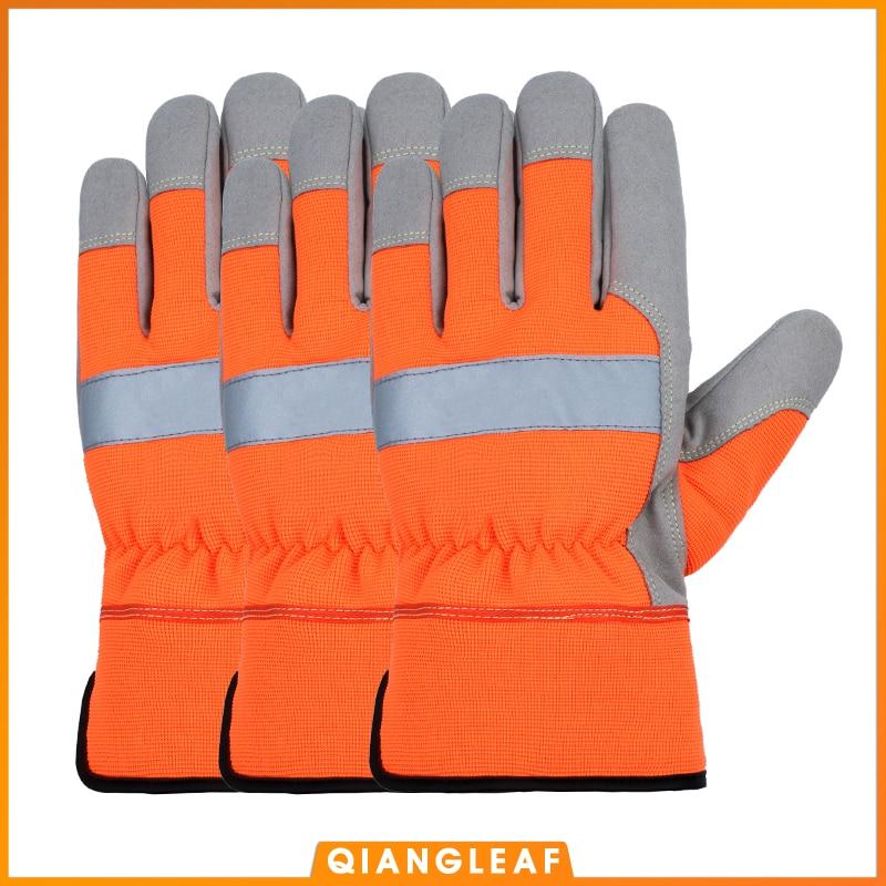 QIANGLEAF 3PCS Shockproof Work Gloves Soft Microfiber Winter Warm Thick Anti Impact Gloves Security Neutral Orange Mitten 9112