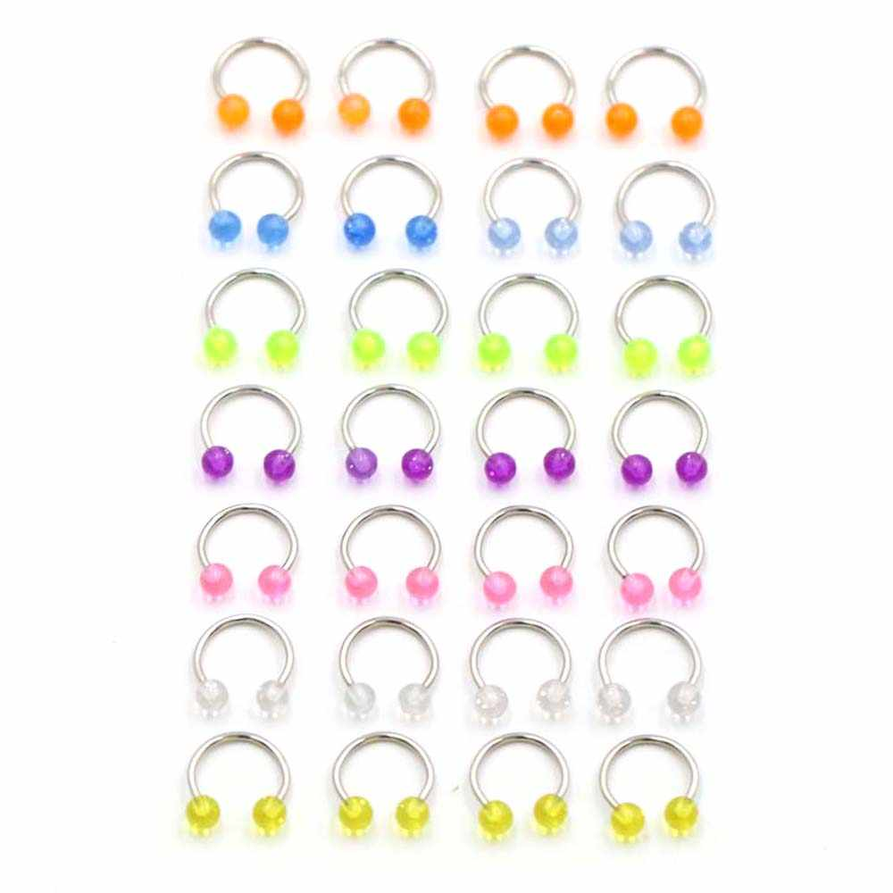Fake Earrings Piercing  2 Pcs Stainless Steel Nostril Nose Ring Lip Rings  Ball Horseshoe Hoop Ring Body Jewelry  Septum Nipple