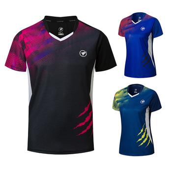 Nowe koszule do badmintona mężczyźni kobiety sportowa koszula koszule tenisowe koszulka do tenisa stołowego koszulki sportowe Quick dry A121 tanie i dobre opinie ZISURON Poliester spandex Krótki Dzianiny Pasuje prawda na wymiar weź swój normalny rozmiar Szybkie suche Oddychająca