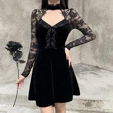 Victorienne Renaissance noir gothique Lolita robe femmes Sexy dentelle à manches longues volants velours Mini robe fille Chic fête Punk robe