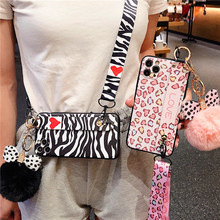 Mode Hairball Case Voor Iphone 12 Mini 11 Pro Xr X Xs Max 7 8 6 6S Plus Se 2020 Soft Wrist Strap Luipaard Zebra Lanyard Cover