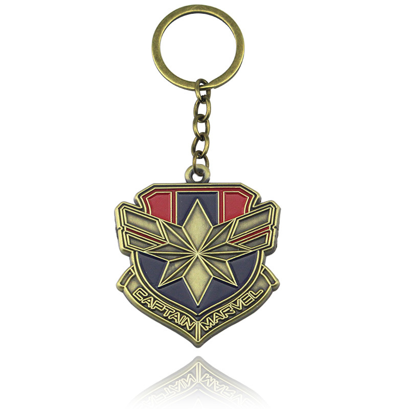 Movie hit superhero captain marvel key chain ice and fire song of the family emblem key pendant key chain man waist small gift image