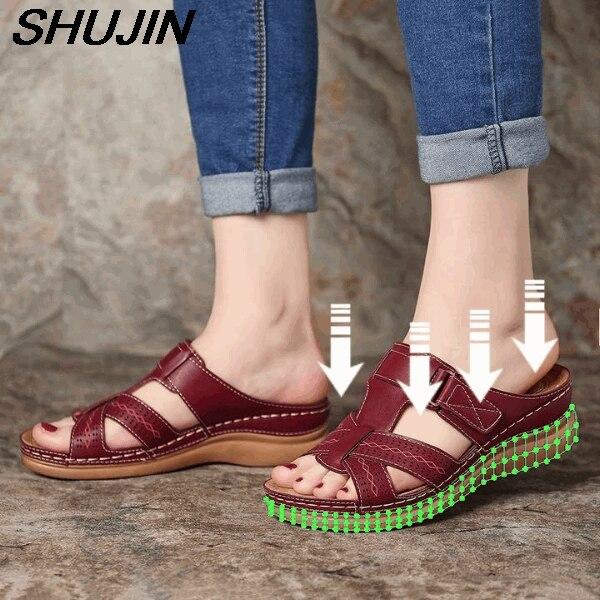 Women's Summer Open Toe Comfy Sandals Soft Premium Orthopedic Low Heels Walking Sandals Toe Corrector Cusion Sandalia Feminina
