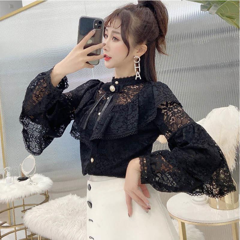 Элегантная Женская весенне-осенняя Свободная рубашка с оборками 2020, женские ажурные Топы с длинным рукавом и кружевным низом