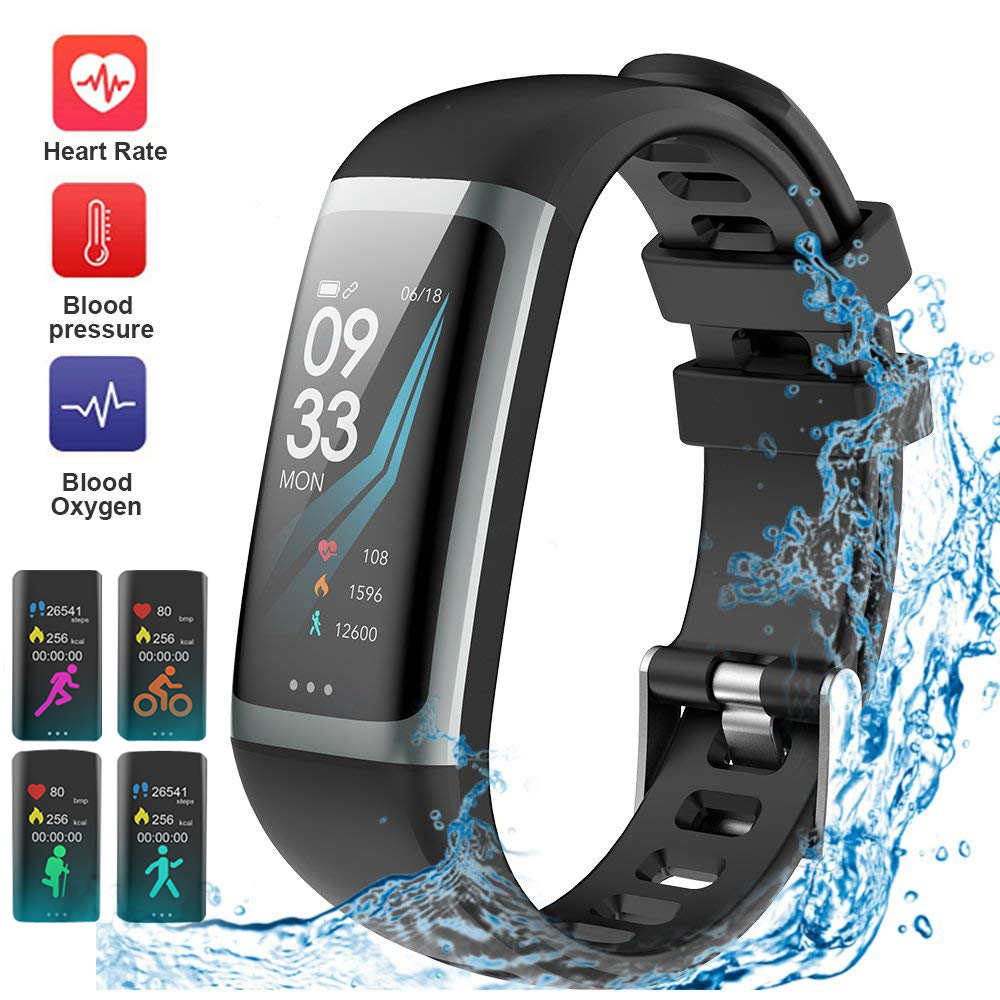 Smart Fitness Tracker Watch Smart Bracelet Color Screen Waterproof Watch Heart Rate Blood Pressure Oxygen Wristband Sports Band image