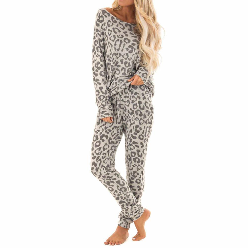 Womail ชุดนอนสำหรับผู้หญิง Leisure พิมพ์สาวบ้านเสือดาวพิมพ์แขนยาวเสื้อ + กางเกงชุดนอน Homewear p924