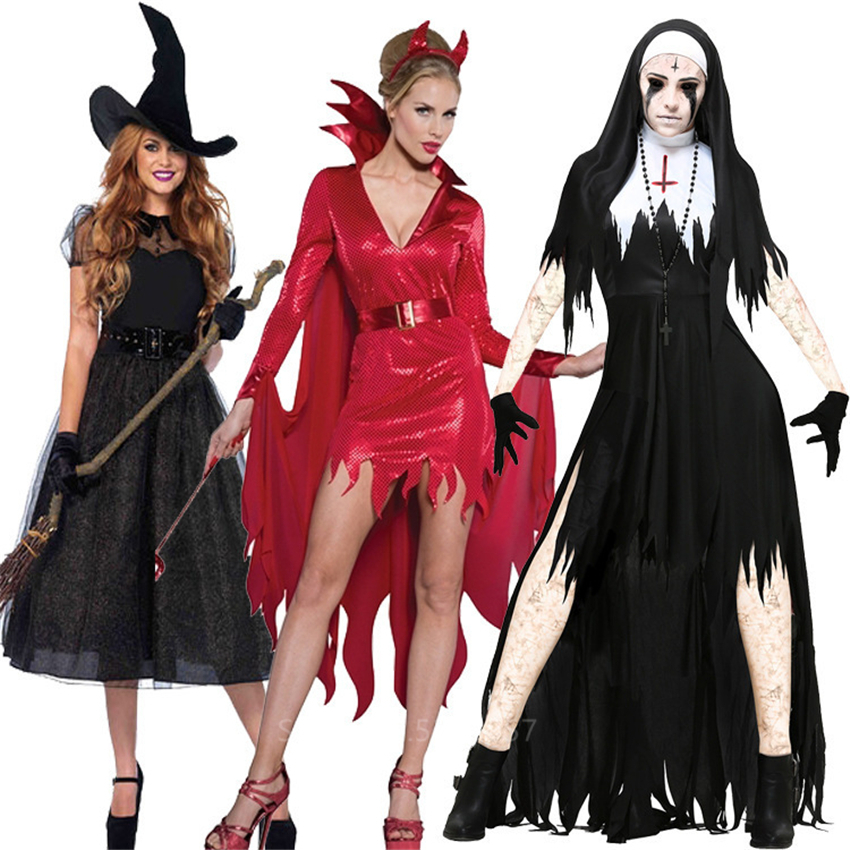 <font><b>Halloween</b></font> Scary Sister Nun Devil Witch Cosplay Costume for <font><b>Women</b></font> Masquerade Party Role-playing <font><b>Gothic</b></font> Horror <font><b>Sexy</b></font> Fancy Outfit image