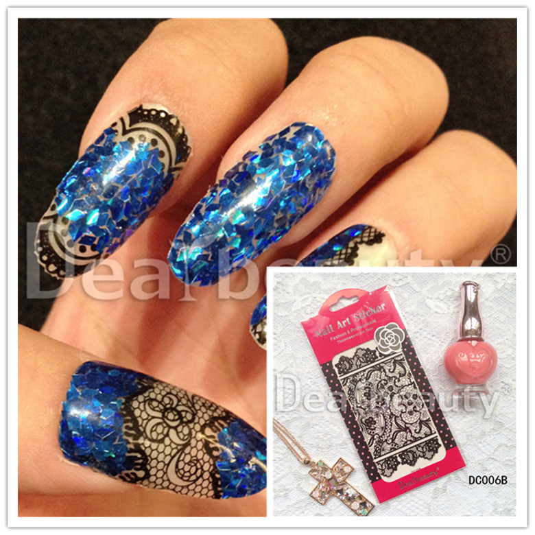 DC01-24 Black And White With Pattern Lace Nail Sticker Ultra-Thin Lace Nail Sticker Factory Currently Available