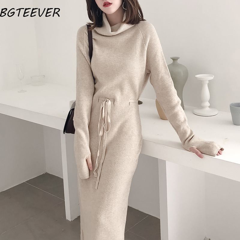 Winter Turtleneck Sweater Dress Women Lace Up Knitted Long Dress Female Knitwear Full Sleeve Soft Vestidos 2019 high quality(China)