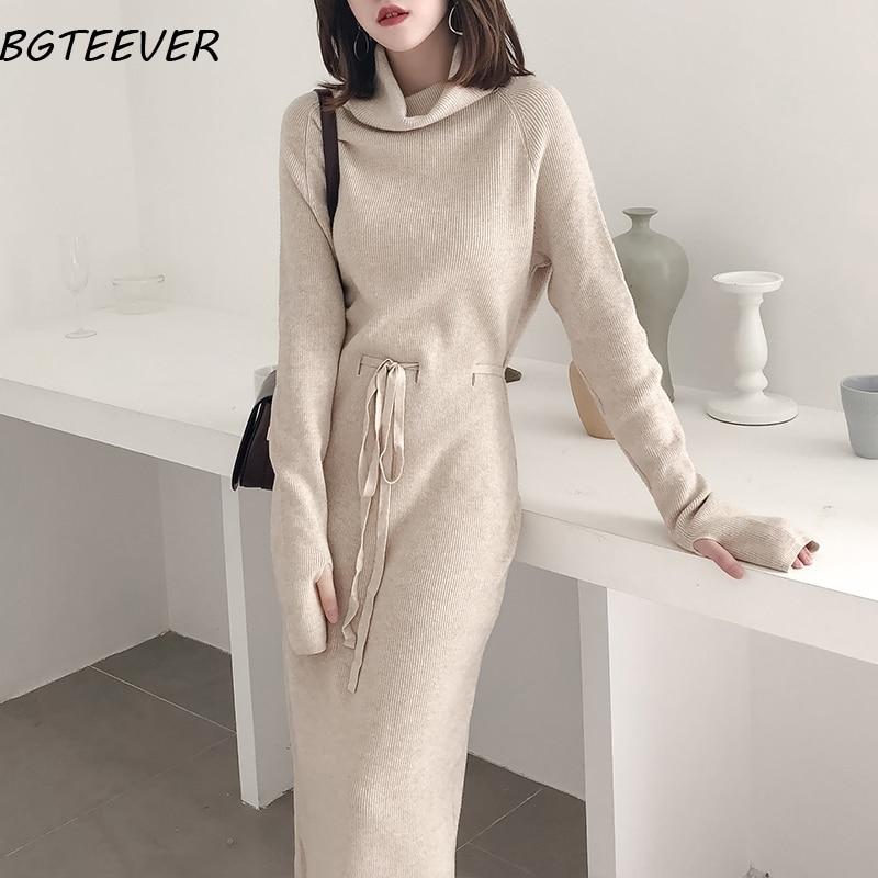 Winter Turtleneck Sweater Dress Women Lace Up Knitted Long Dress Female Knitwear Full Sleeve Soft Vestidos 2019 high quality