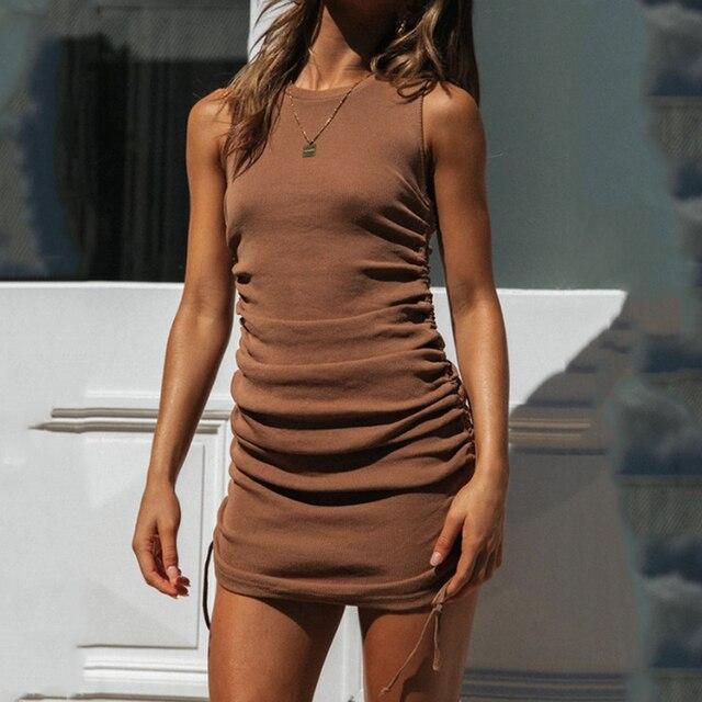 Elegant Summer Sexy Sleeveless  O-Neck Slim Dress 4
