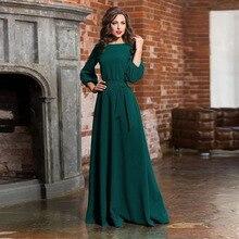 Women Casual Bow Maxi Sashes Dress Ladies Vestidos Long Sleeve O Neck Elegant Pa
