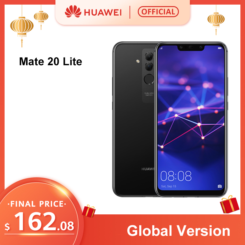 Global Version Huawei Mate 20 Lite 6.3 Inch Mobile Phone EU Charger 4G 64G NFC 24MP Front Camera F/2.0 Aperture Kirin 710